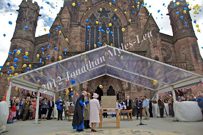 HM The Queen & HRH The Duke of Edinburgh at Hereford Cathedral. © Jonathan Myles-Lea