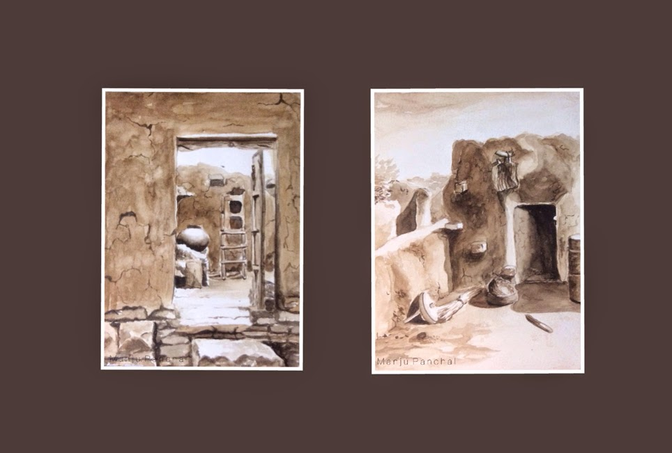 water colour paintings of rural homes by Manju Panchal