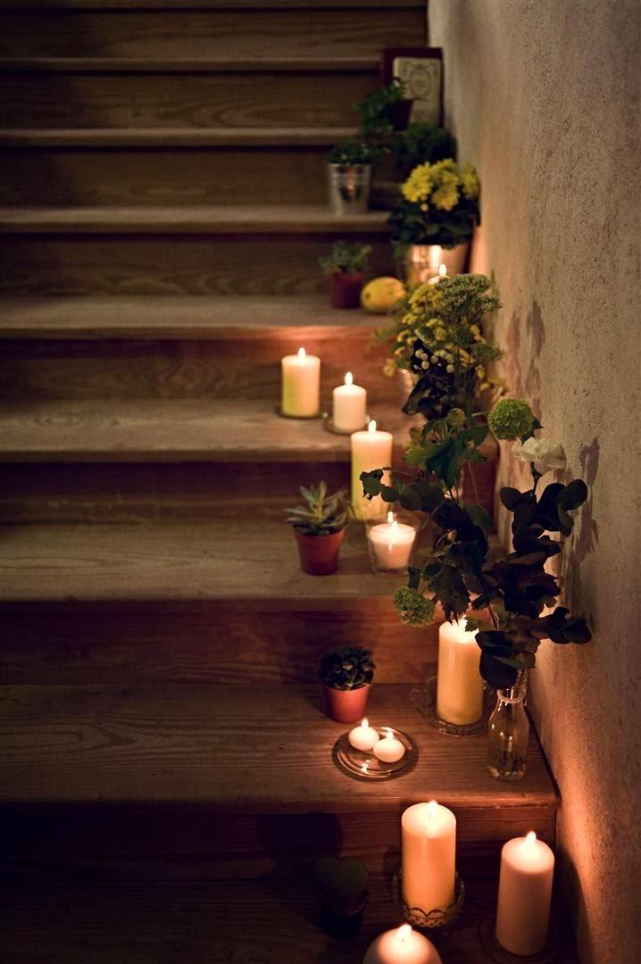 velas en la escalera