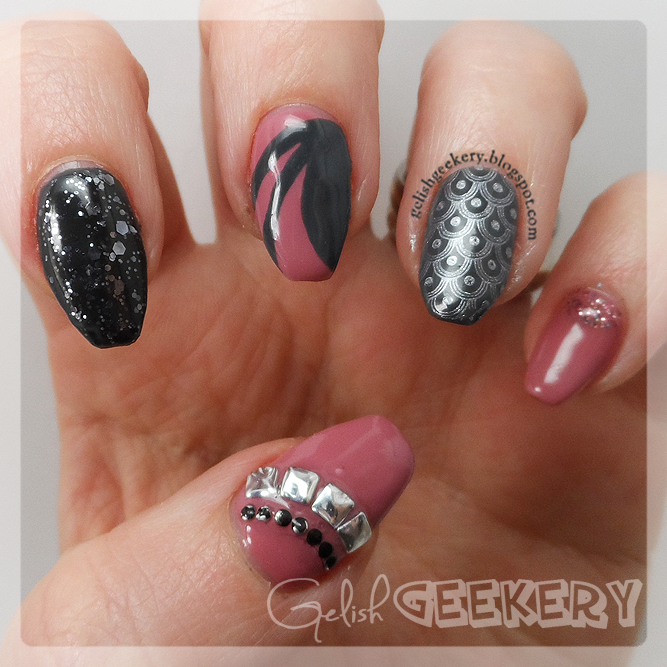Gelish Mauvy-Mauve and Grey MoYou Stamp Nails