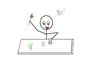 "A stick figure hovering over a table, waving a magic wand over a beaker and some seeds, exclaiming, ""YES!"""