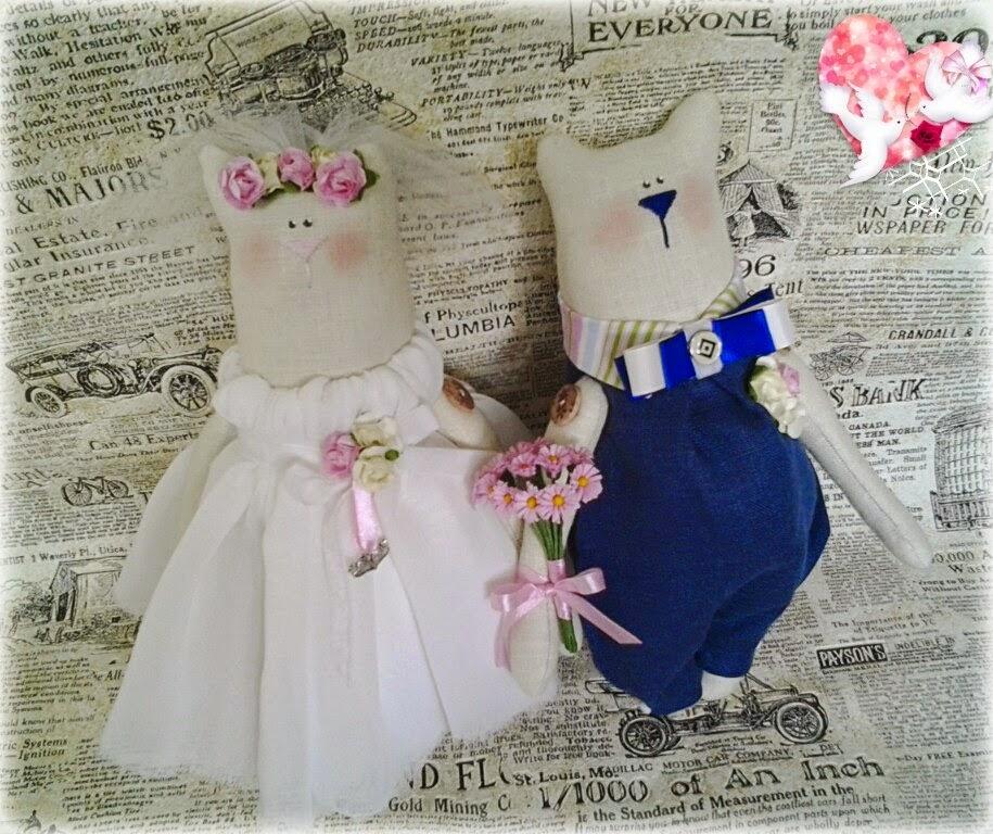 Новый год, кошки, тильда, подарок, что подарить на новый год, текстильная игрушка, свадебная пара