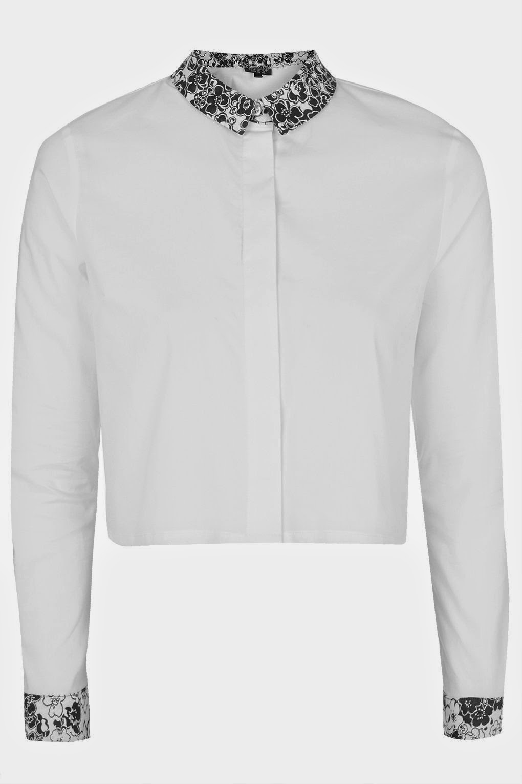 white shirt with patterned collar,