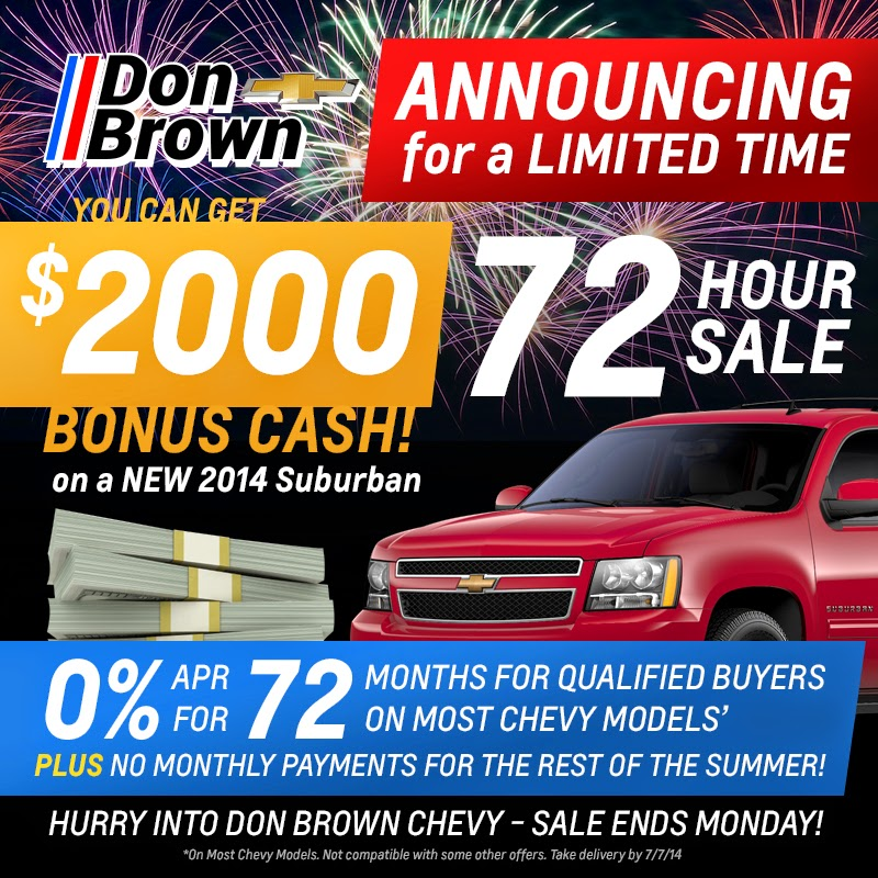 72 Hour Sale at Don Brown Chevrolet!