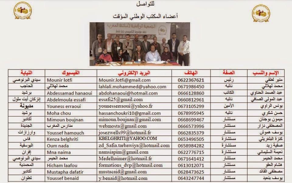 للتواصل مع أعضاء المكتب الوطني المؤقت للجمعية الوطنية لأساتذة المغرب