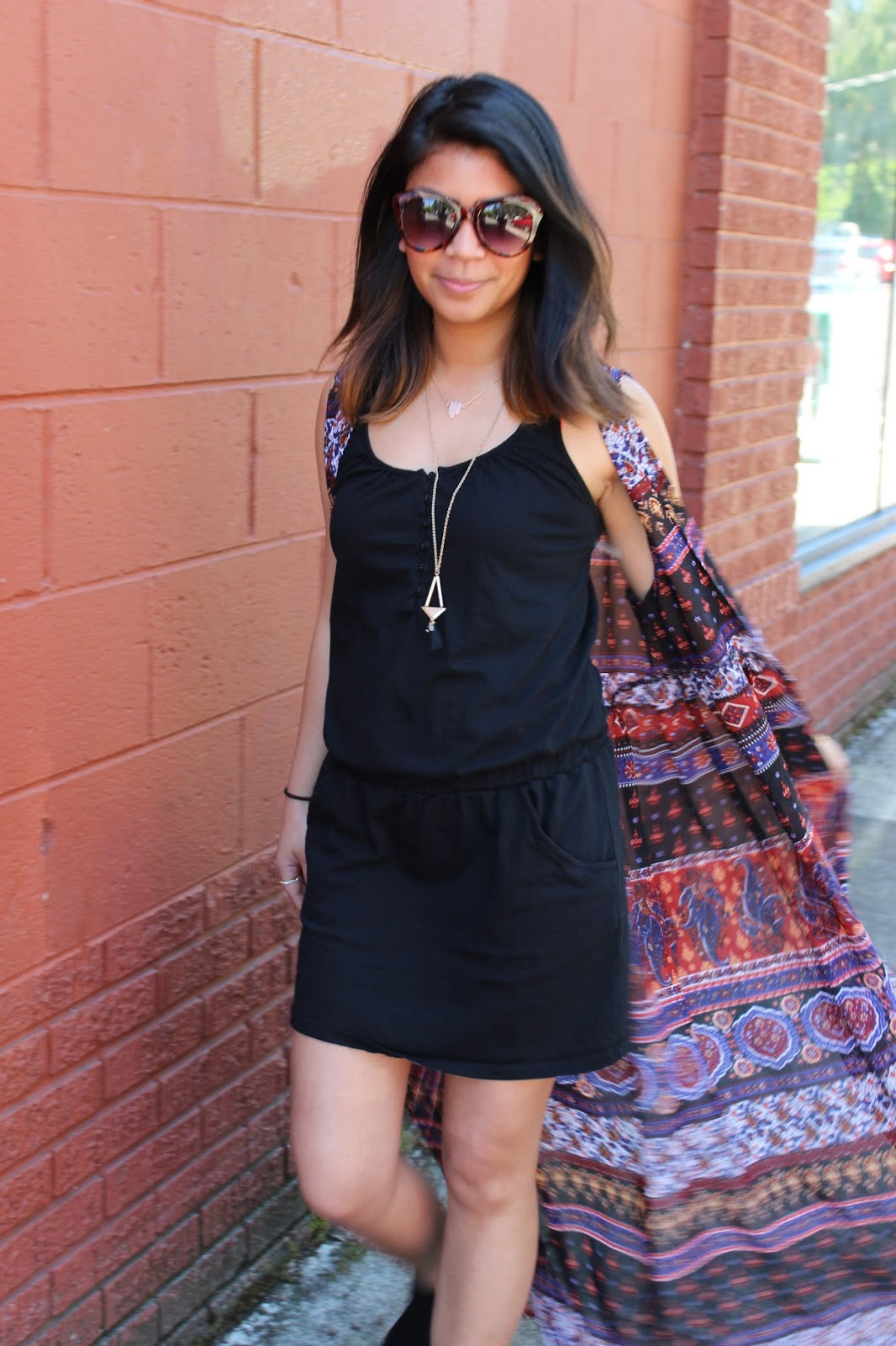 summer, black tank dress, cat eye glasses, floor length kimono, gold bracelets, portland blogger, portland street style, ootd