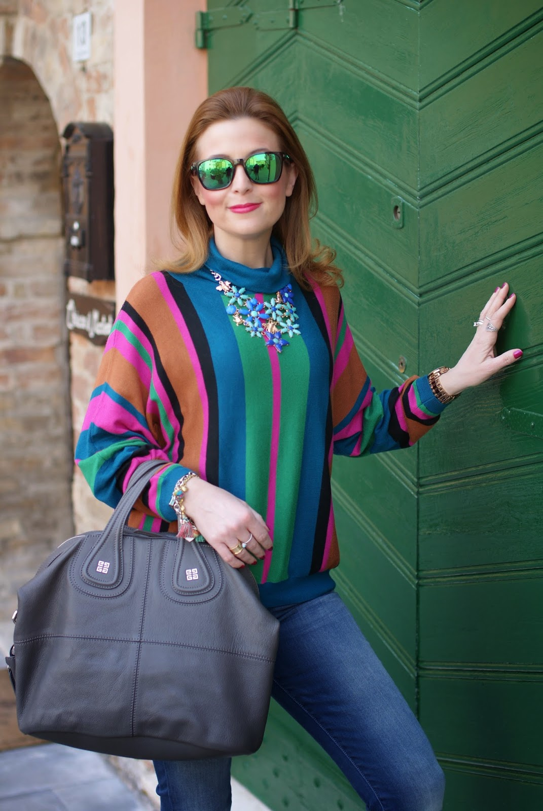 striped top, colorful striped style, Givenchy Nightingale bag, Fashion and Cookies fashion blog, fashion blogger 70s style