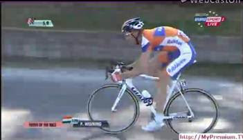 It's like he went to the Jens Voigt neutral support bike school of bike fitting.