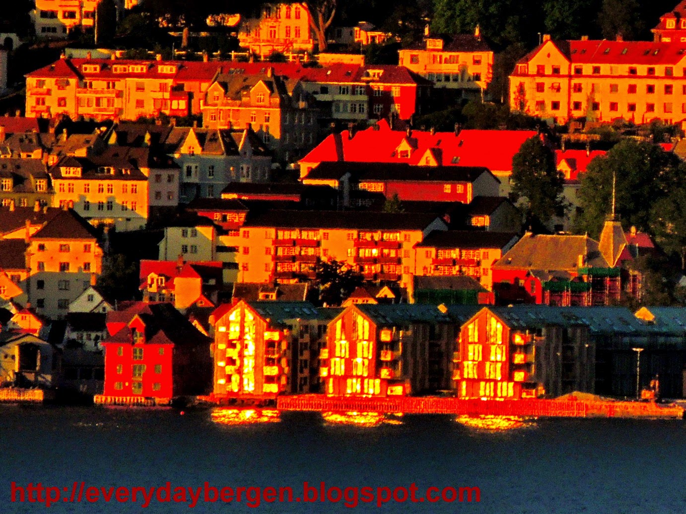 Bergen in sunset