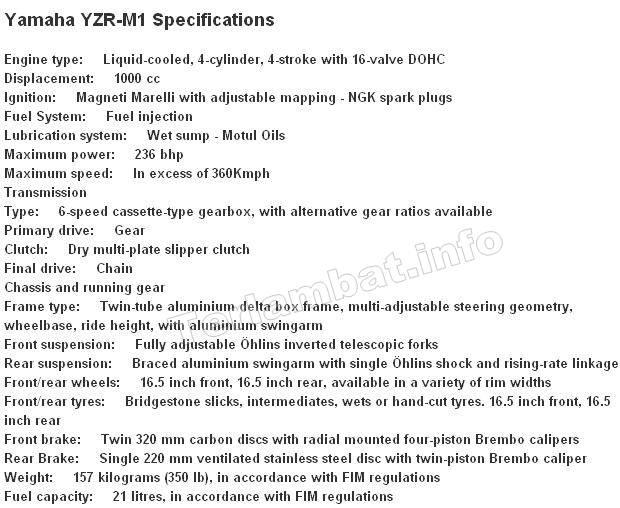 Spesifikasi YZR M1 Rossi Yamaha 2013