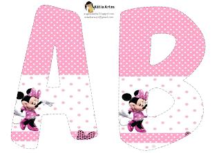 Lindo alfabeto de Minnie saludando, en rosa y blanco AB.