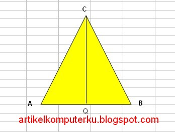 Dengan regulation pythagoras maka dapat dihitung tinggi segitiga