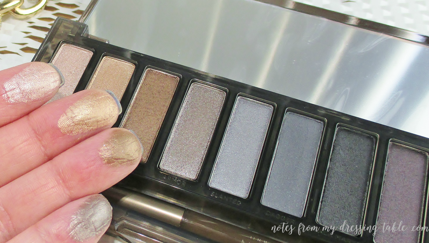Urban Decay NAKED Smokey Finger Swatches Shimmers notesfrommydressingtable.com