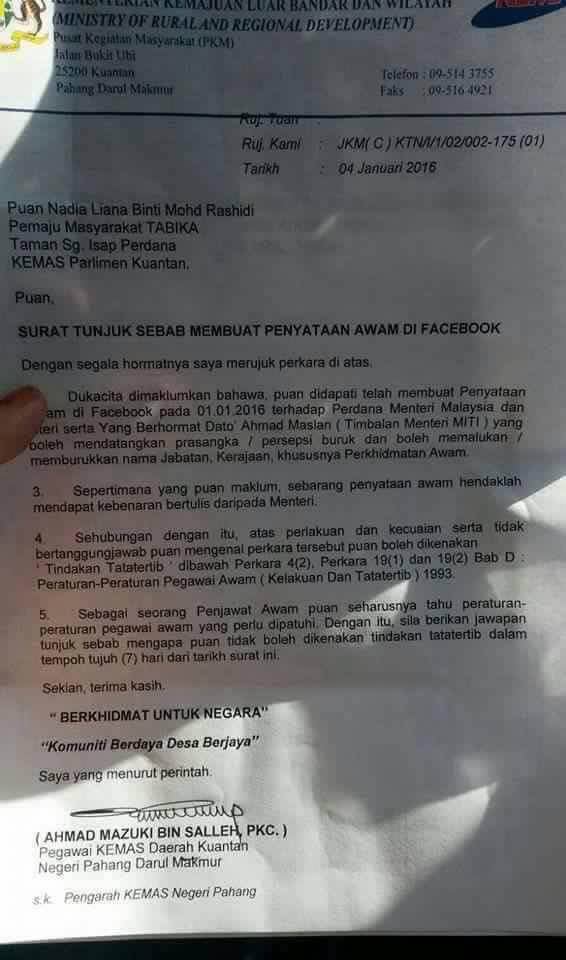 Penjawat awam wanita terima padah burukkan pemimpin di Facebook