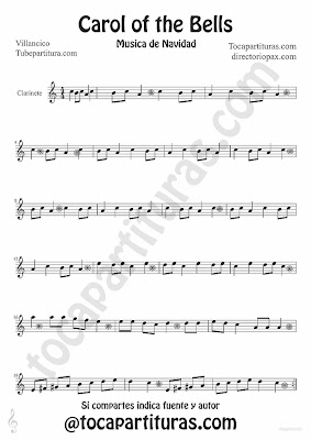 Tubepartitura Carol of the Bells partitura para Clarinete villancico popular de Navidad
