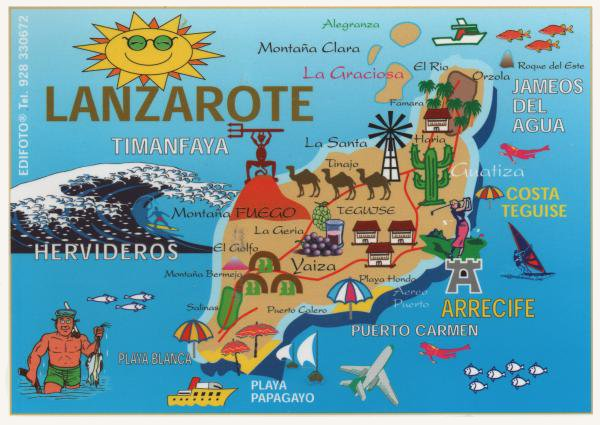 cartoon style map of Lanzarote