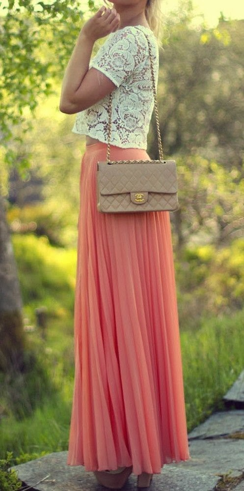 GORGEOUS coral pleated skirt with crochet top