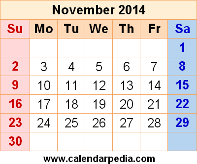November 2014 Calendar Printable Image Printable Calendar 2014