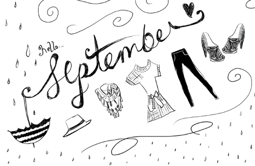 September Illustration by Marivic Ulep, Hello September, Fashion Illustration for the month of September, Whimsical Illustration for Fashion Week, Fashion Week Illustration