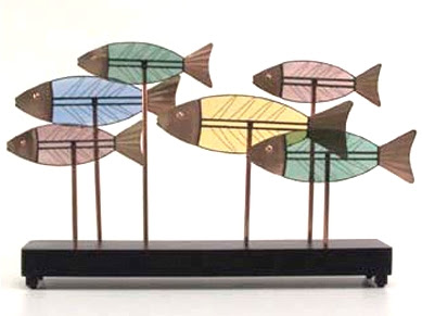 colorful fish sculpture