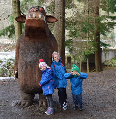 Gruffalo wooden sculpture at Stick Man Trail in Hamsterley Forest, Durham
