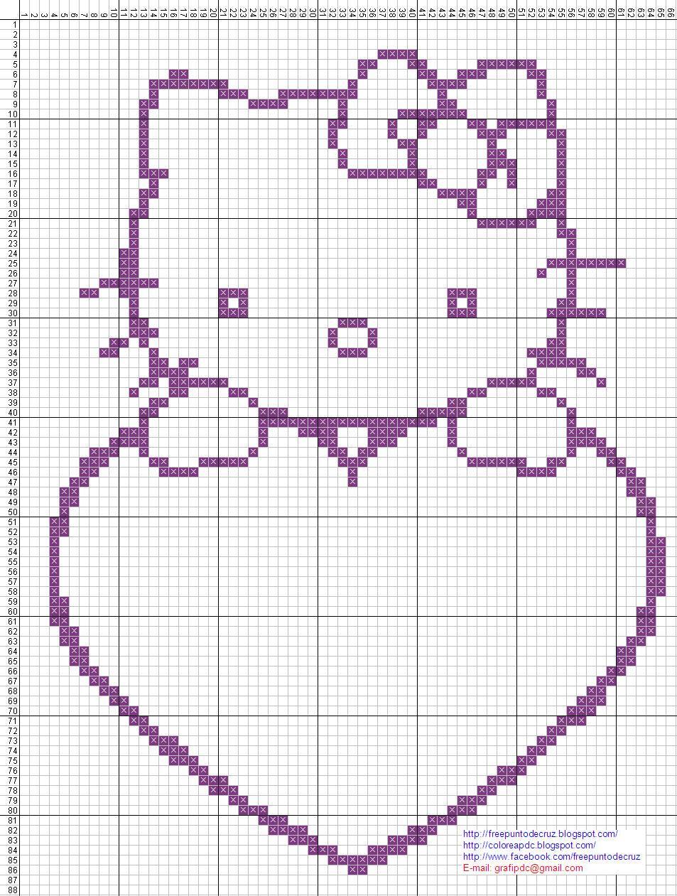 Hello Kitty punto de cruz para colorear  Dibujos en patrones