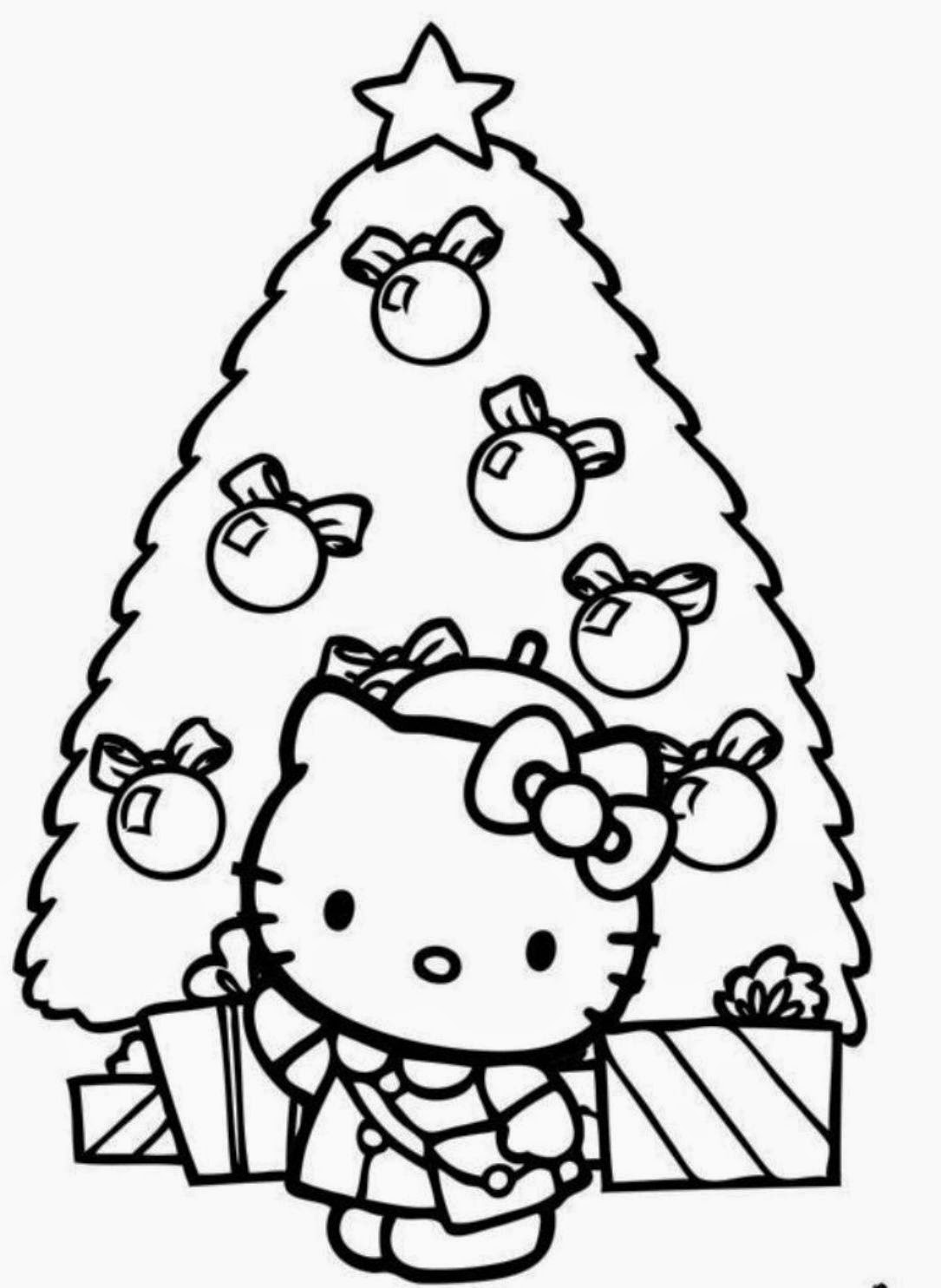 christmas hello kitty coloring page - Kitty Easter Coloring Pages