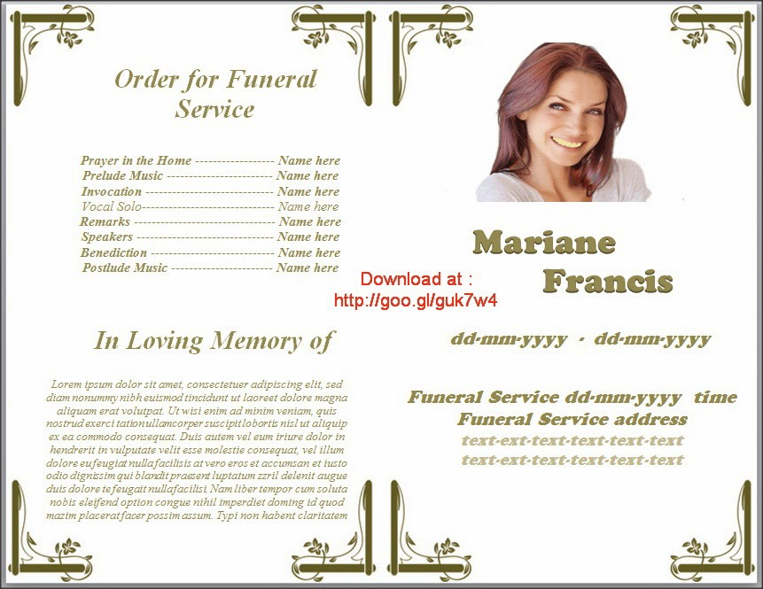 funeral obituary template – Template of Funeral Program