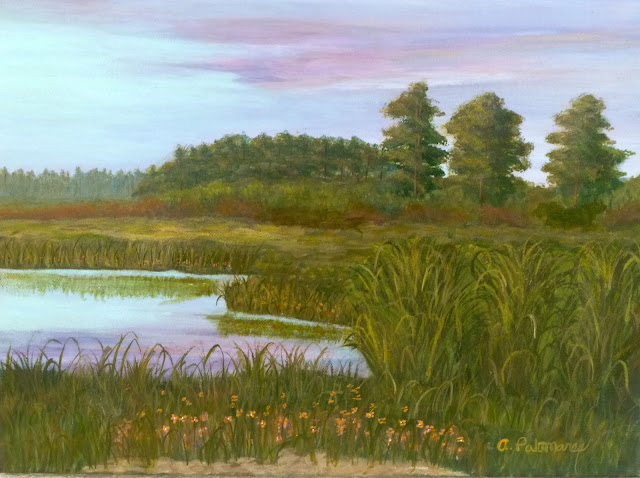A painting of a sunset and pond with wildflowers and trees