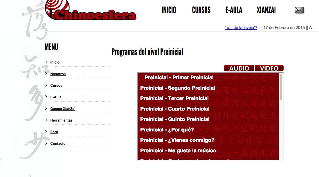 El portal Chinoesfera ofrece cursos gratuitos en formato audio para aprender chino