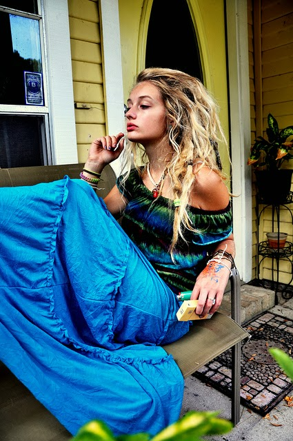 beatiful long hair rastafari girl in her blue dress