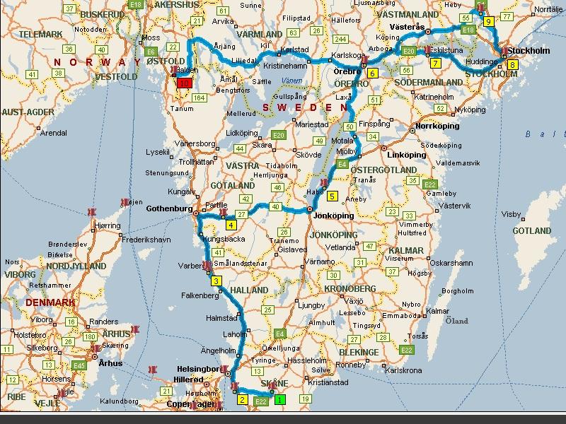 Scandinavia In A Motorhome Europe By Camper Travelling - Sweden map gps