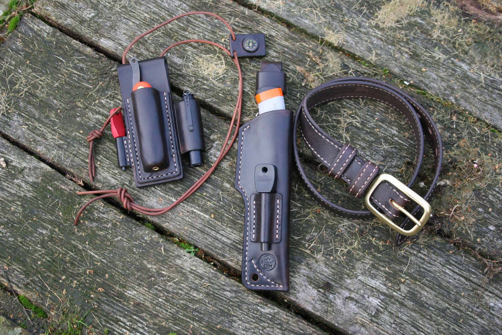 Survival kit including Mora knife and sheath belt and neck kit