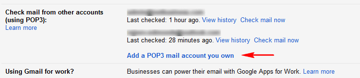 POP3 email checking option in Gmail