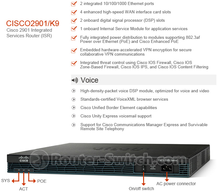 router switch cisco 2901 router diagram specs, features and