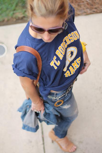 TC Roberson Rams T-Shirt, Zara Ripped Denim, Gap 1969 Denim Jacket, Coach Stewardess Bag, Cole Haan Air Mirella Pumps, Blinde Sunglasses, Bauble Bar Boho Drops, Target Belt, Forever 21 Belt worn as Bracelet
