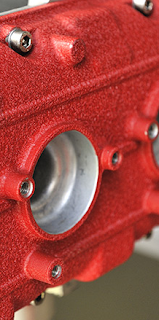 red powder coated part