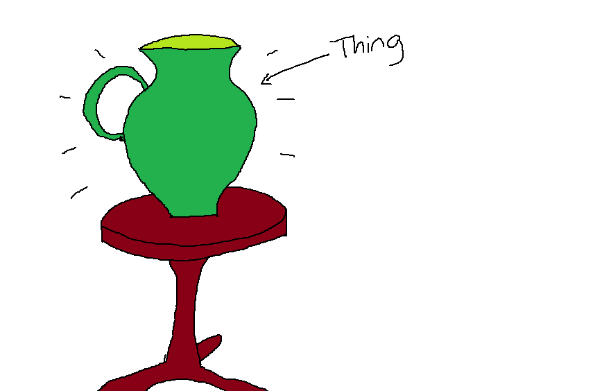 A thing labelled 'thing', sitting on a table.