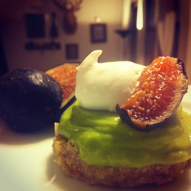 Raw Vanilla Avocado Tart + Coconut Whipped Cream + Figs