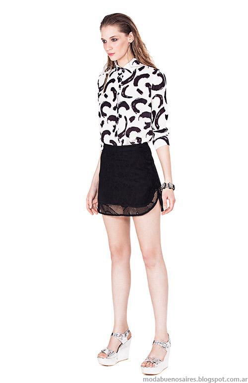 Mini faldas de encaje looks primavera verano 2015 Basement.