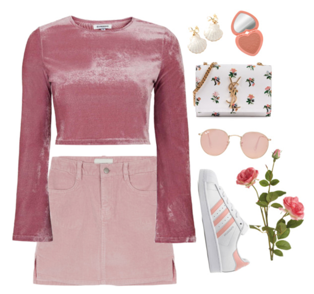 Look chic and pretty in this all-pink outfit. Velvet is definitely back in style!