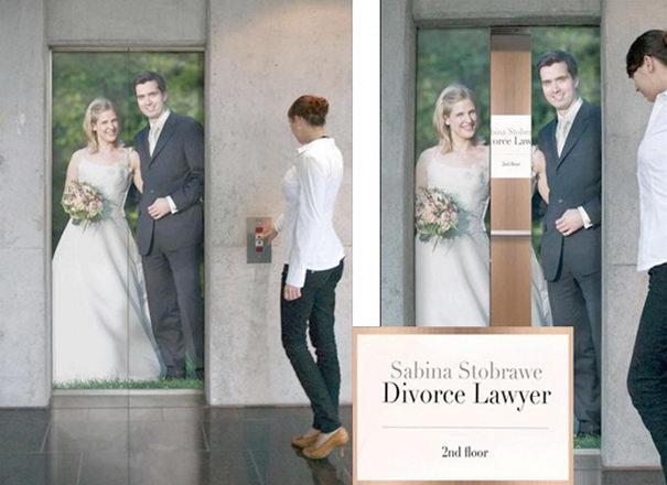 Publicidad Creativa, ascensores, abogado de divorcios