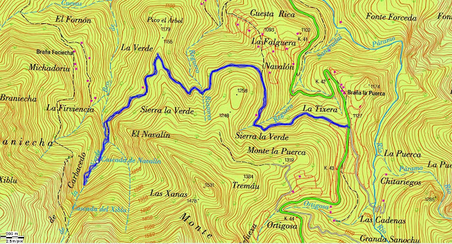 Topographic map of Beech Forest and Waterfall Xiblo Montegrande - Teverga - Asturias