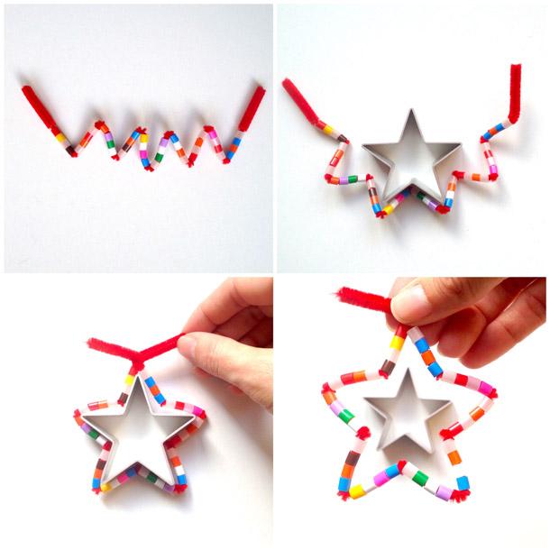 Schaeresteipapier 3x3 sterne mit pfeifenputzer und perlen - Tannenbaumschmuck basteln mit kindern ...