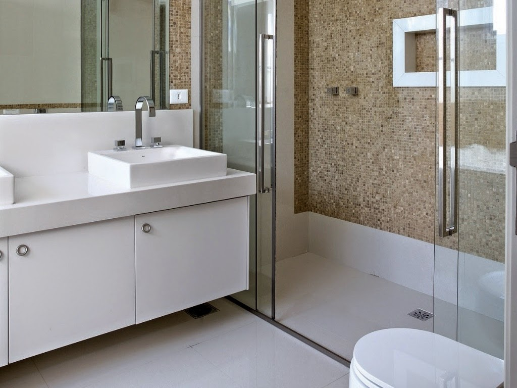 Banheiros com pastilhas 37 modelos decorados Decor Alternativa #5B4E3B 1024x768 Banheiro Com Azulejo Que Imita Pastilha