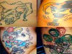 Criminosos que posseum a tatuagem do palhaço têm ligação com roubos e formação de quadrilhas. (Foto: Divulgação)(G1 BA)