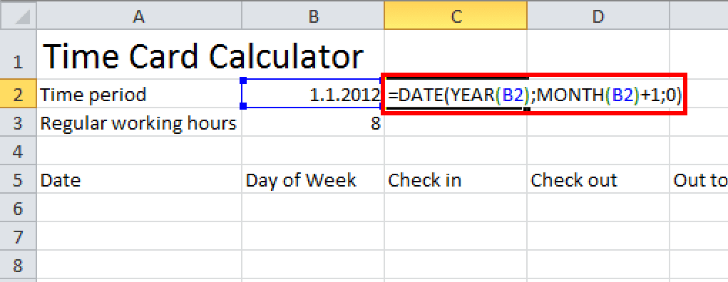 time card calculator excel tutorial get the last day of month