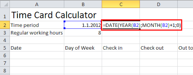 Time card calculator Excel tutorial - get the last day of month