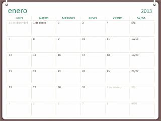 Calendario para anillar 2013