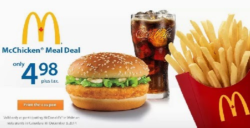 Walmart Mcdonalds McChicken Meal Deal $4.98 Coupon